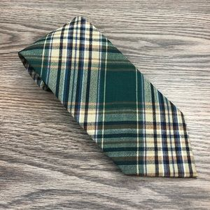 Pendleton Green, Tan & Navy Plaid Wool Tie